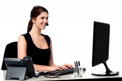 woman femme service client computer ordinateur stockimages
