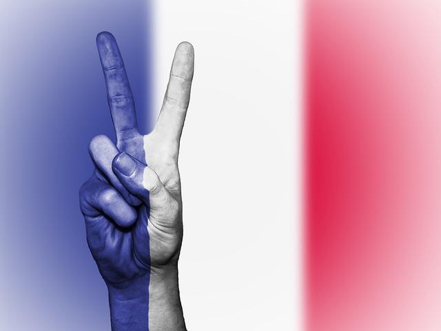 Photographie d'une main en train de faire le signe de la victoire sur un fond aux couleurs du drapeau de la France.