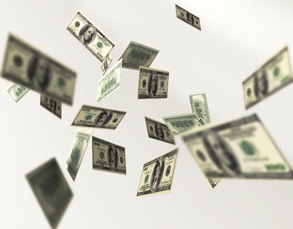 Billets de banque volant en l'air.
