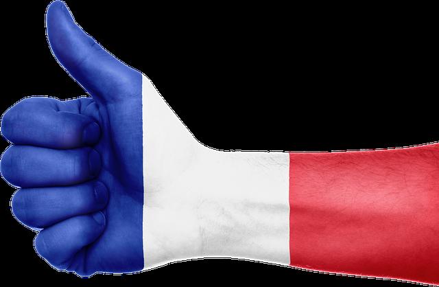 Pouce avec le drapeau bleu blanc rouge