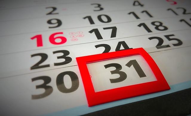 Photographie d'un calendrier.
