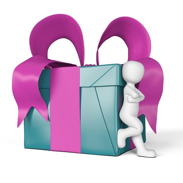 Symbole d'un bonhomme appuyé sur un cadeau.